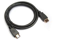 Cable de HDMI con los conectores plateados oro fotos de archivo libres de regalías