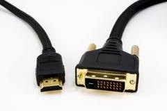 Cable de HDMI y de DVI Imágenes de archivo libres de regalías
