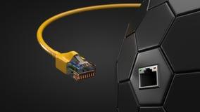 Cable de Internet y eje hexagonal de la tecnología el ejemplo conceptual 3d del cable de Ethernet y rj-45 tapan Fotografía de archivo libre de regalías