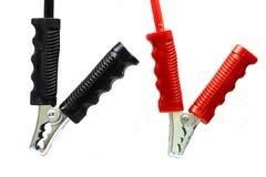 Cable de la batería aislado en el fondo blanco, el conector del cable de la batería en trabajo de la industria, el servicio y el  Imágenes de archivo libres de regalías