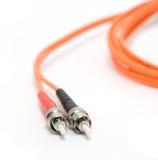 Cable de la fibra con los conectores Imágenes de archivo libres de regalías