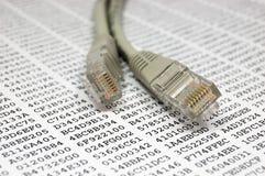 Cable de la red y clave de cifrado Fotografía de archivo