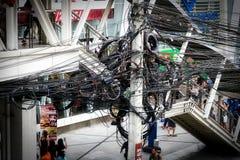 Cable de transmisión en Bangkok Tailandia foto de archivo libre de regalías
