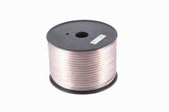 Cable del altavoz, alambre en carrete plástico Foto de archivo