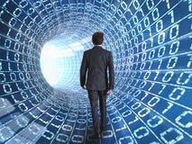 Cable del hombre de negocios y del Internet Imágenes de archivo libres de regalías