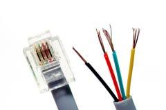 Cable del módem/de teléfono Fotografía de archivo libre de regalías