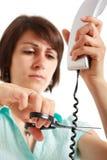Cable del teléfono del corte Foto de archivo