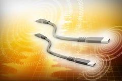 cable del usb 3d a conectar con los ordenadores Foto de archivo libre de regalías