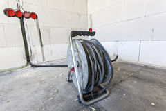 Cable drum at a construciton site Royalty Free Stock Images