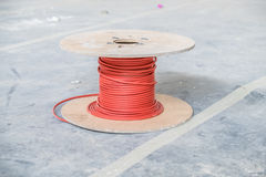 Cable drum of fire alarm cable Stock Photo