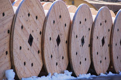 Cable drums. Electric cable drums stored outside royalty free stock photos