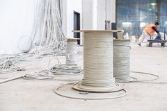 Cable drums with installation chaos Stock Images