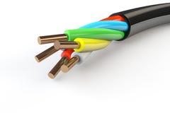 Cable eléctrico con los alambres imágenes de archivo libres de regalías
