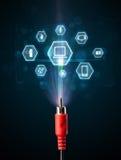 Cable eléctrico con los iconos de las multimedias Imagen de archivo libre de regalías
