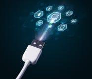Cable eléctrico con los iconos de las multimedias Foto de archivo