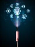 Cable eléctrico con los iconos de las multimedias Foto de archivo libre de regalías
