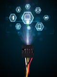 Cable eléctrico con los iconos de las multimedias Imagen de archivo