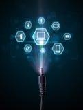 Cable eléctrico con los iconos de las multimedias Fotos de archivo libres de regalías