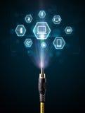 Cable eléctrico con los iconos de las multimedias Fotografía de archivo libre de regalías
