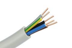 Cable eléctrico en un fondo blanco Billete de banco reajustado nuevo lanzamiento del dólar Fotos de archivo