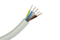 Cable eléctrico en un fondo blanco Billete de banco reajustado nuevo lanzamiento del dólar Imagen de archivo libre de regalías