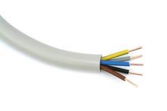 Cable eléctrico en un fondo blanco Billete de banco reajustado nuevo lanzamiento del dólar Fotos de archivo libres de regalías