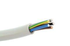 Cable eléctrico en un fondo blanco Billete de banco reajustado nuevo lanzamiento del dólar Imagen de archivo