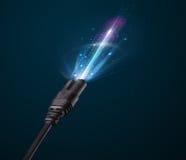Cable eléctrico que brilla intensamente Imágenes de archivo libres de regalías
