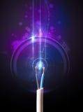 Cable eléctrico que brilla intensamente Fotografía de archivo libre de regalías