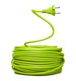 Cable eléctrico verde imagenes de archivo