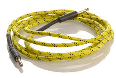 Cable eléctrico del amplificador de la guitarra eléctrica Foto de archivo