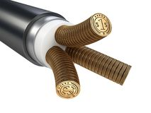 The cable is electric. Conductors made from coins. Tariffs for e Stock Photos