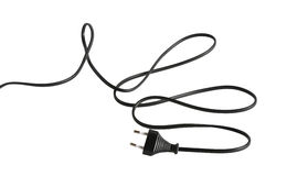 Cable With Electric Plug. Long black cable with electric plug isolated on white background. Clipping path is included royalty free stock image