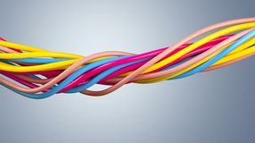 Electric screened cable with many wires isolated Stock Image