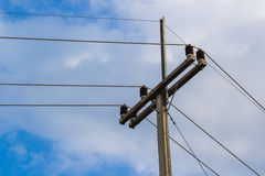 Cable of electricity on the pole Royalty Free Stock Images