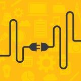 Cable en fondo amarillo Foto de archivo