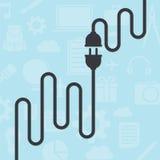 Cable en fondo azul Fotografía de archivo libre de regalías
