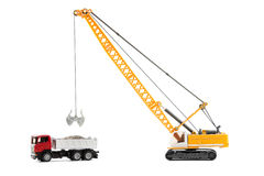 Cable excavator and heavy truck Royalty Free Stock Images