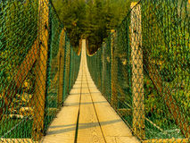 A Cable Footbridge Spans the Kootenai River Stock Photo