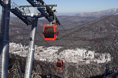 Cable gondolas and poles Royalty Free Stock Photos