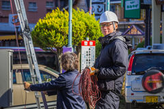 A Cable Guy at Lake Kawaguchiko Stock Photo