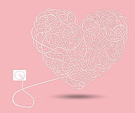 Cable heart. Network cable twisted in the shape of the heart Royalty Free Stock Photography