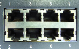 Cable & hub. Close-up of network cable & hub Stock Photo