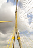 Cable huge bridge. Cable and pillar of the huge bridge royalty free stock photography