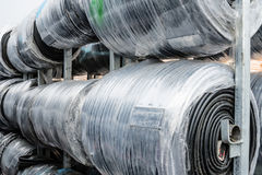 The cable intended for construction is stored in a roll stock photo