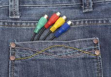 Cable in jeans pocket Stock Photo