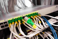 Cable lan in computer server room Stock Images