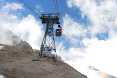 Cable lift on mountains Stock Images