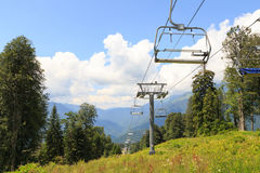 Cable lift in the summer. Gazprom center, Sochi, Russia Royalty Free Stock Photography