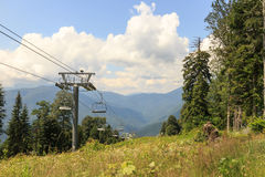 Cable lift in the summer. Gazprom center, Sochi, Russia Stock Photography